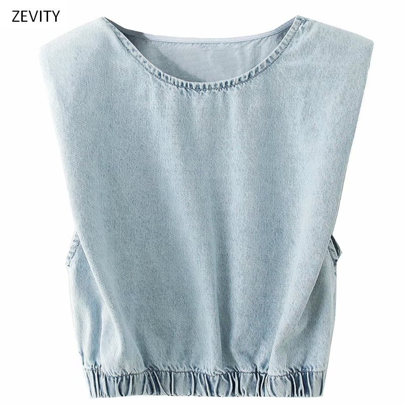 2020 Women Vintage O Neck Sleeveless Padded Shoulder Denim Smock Blouse Female Hem Elastic Leisure Shirt Chic Blusas Tops LS6754