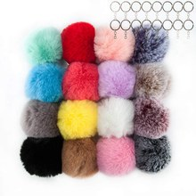 Hot 16 PCS Faux Fur Fluffy Poms Balls Keychain for Hats Shoes Scarves Bag Poms Balls Purse Charm for Women(Mix Colors)(China)