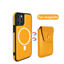 Dla Magsafe Iphone 12 12Pro Max 12Mini skóra Tylna Magnetyczny Uchwyt samochodowy Dla Apple x xr xs 11 Magsaxing Portf