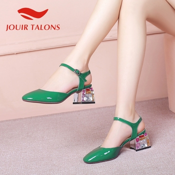 JOUIR TALONS 2020 Brand Design Big Size 43 Genuine Leather Women Sandals Square Heel round Toe Crystal Pump Summer Women Shoes