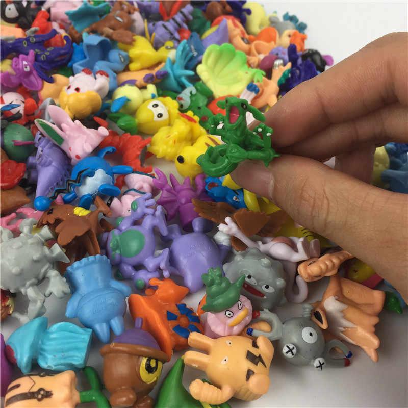 48PCS/Banyak Anak-anak Mainan Pokeball Aksi Figur Pikachu Anime Pokemon Mainan Campuran 2-3Cm Mini Acak Mini Figurine mainan untuk Anak
