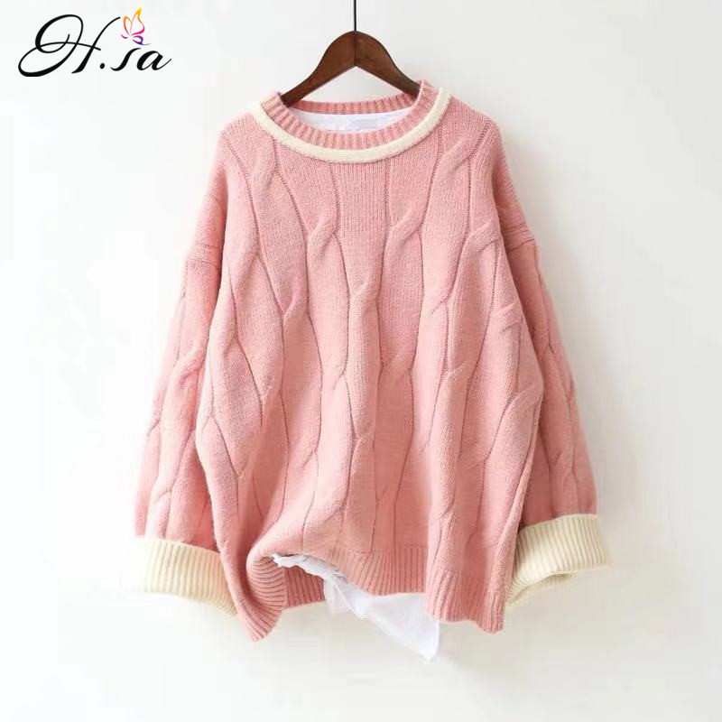 H.SA New Arrivals 2019 Winter Casual Pull Sweaters Twisted Long Oversized Jumpers Candy Color Pink Jumpers Knitted Pull Femme