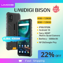 Umidigi bison 6gb/8gb + 128gb nfc smartphone ip68/ip69k impermeável áspero telefone 48mp quad camera 6.3