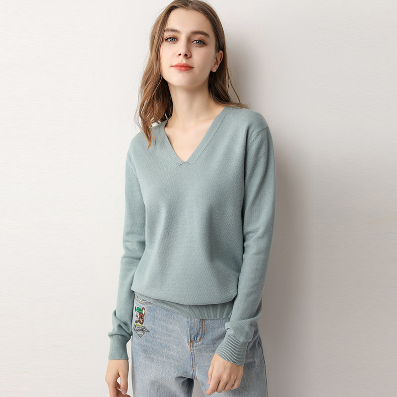 Autumn Winter New Thin Sweater Women's Low Collar Loose V-neck Knit Bottoming Shirt Female Pullover Tops