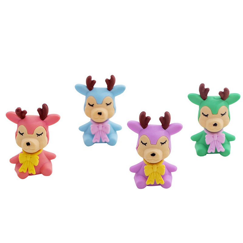 4 Pcs/lot Rubber Erasers Small Colored Deer Pencil Eraser Students Stationery School Supplies For Children Kids Gift Eraser