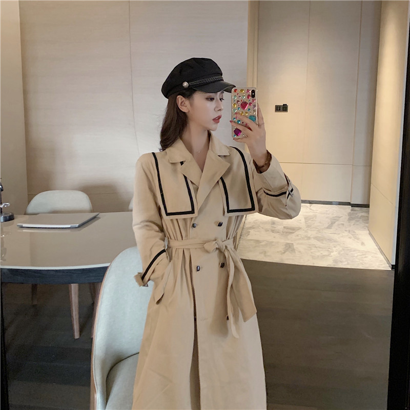 Vintage British style long over the knee double-breasted women elegant overcoat comfortable loose a-line   trench   coat