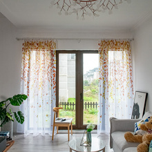 Pastoral Tulle Window Curtains for Living room the Bedroom Printed Willow Sheer Voile Curtains Blinds Drapes Home Decor Customs pastoral daisy door screen voile window sheer curtain blinds drape bedroom curtains backdrop christmas decorations for home wall