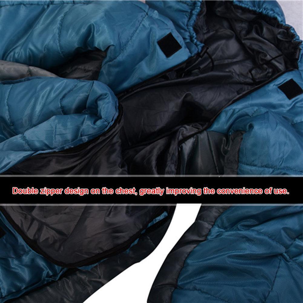 Спальный мешок в форме человека, зимний теплый удобный спальный мешок на молнии, спальный мешок для палаток, походов, походов - 6