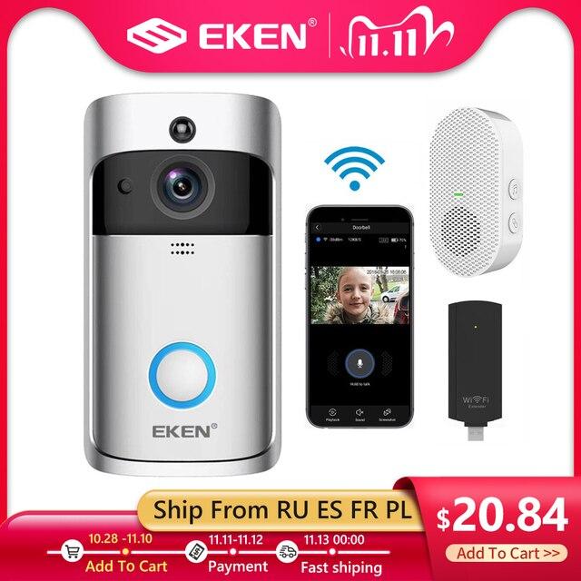 EKEN V5 wideodomofon, inteligentny, bezprzewodowy, Wi Fi, dzwonek do drzwi zapewniający bezpieczeństwo, nagrywanie wizualne, domowe urządzenie kontrolne, noktowizor, intercom domofon do drzwi