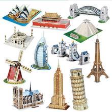 Rompecabezas tridimensional 3D palabra edificios famosos arquitectura puzle educativo DIY juguete regalo para niños adultos