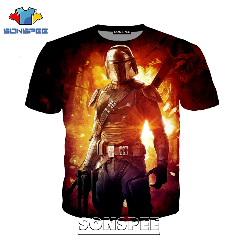 SONSPEE 3D Print Men Women Fashion Short Sleeve The Mandalorian T-shirts Casual Streetwear Star Wars Baby Yoda Tees Tops Shirt image