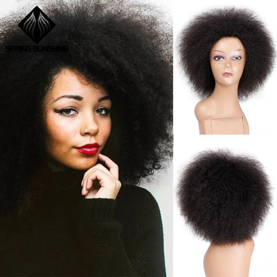 Image 2 - Spring sunshine 6 Inch Natural Black Brown Red Hair Synthetic Short Curly Afro Wig Fluffy Wigs for Women Black HairSynthetic None-Lace  Wigs   -