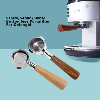 Breville Delonghi Krups Coffee Bottomless Portafilter Dosing Ring Espresso Coffee Funnel Wooden Handle Filter Holder 51/54/58mm stainless steel 51mm 53mm 58mm coffee powder ring intelligent dosing espresso barista bowl funnel portafilter coffee accessories