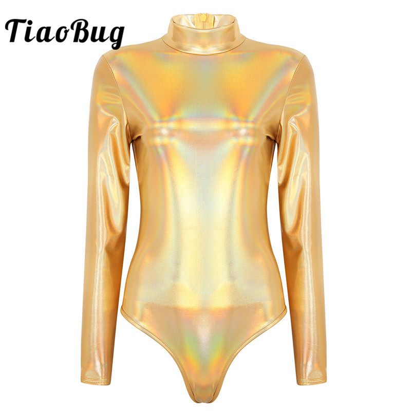 Women <font><b>Sexy</b></font> Bodysuit Shiny Metallic Long Sleeves Gymnastics Leotard Nightclub Party <font><b>Festival</b></font> Rave Stage Performance Dance Costume image