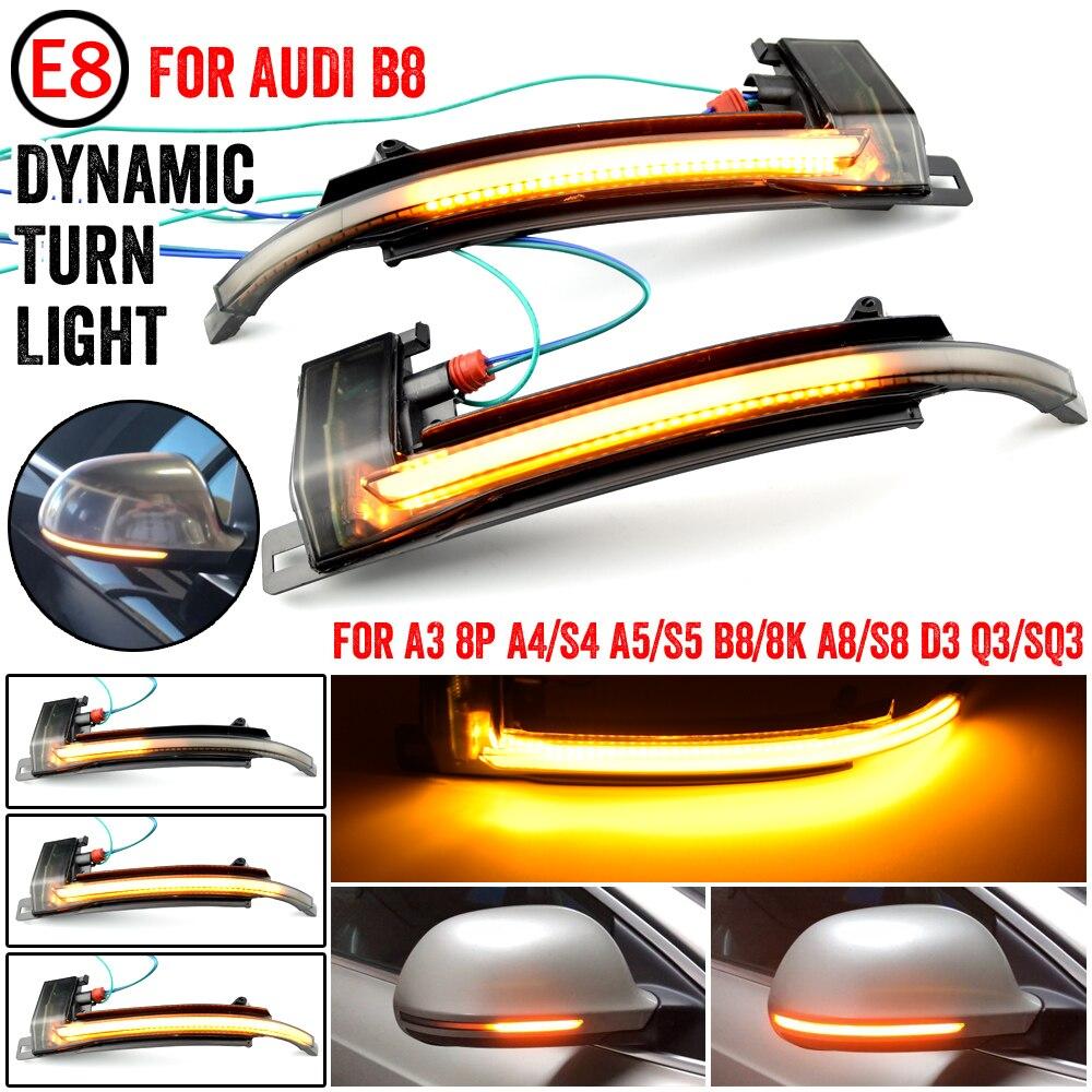 Светодиодный индикатор поворота, динамический зеркальный светильник для Audi A3, 8P, A4, A5, B8, Q3, A6, C6, 4F, S6, SQ3, A8, D3, 8K