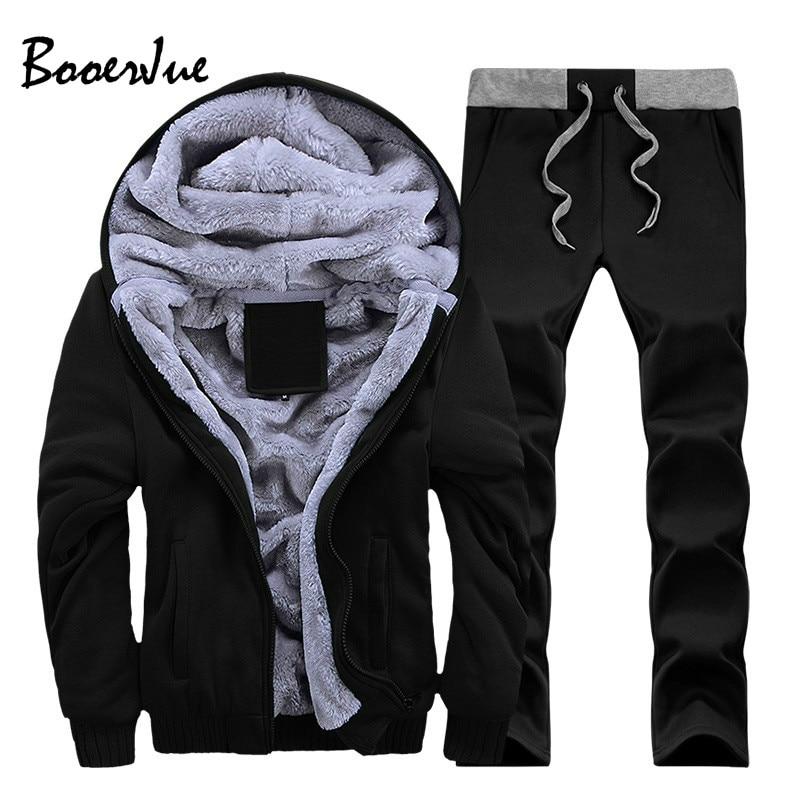 2020 Warm Tracksuit Men Sets Hooded Winter Thick Inner Fleece Men's Sets Hat Casual Zipper Solid Man Outwear 2PC Jacket+Pants