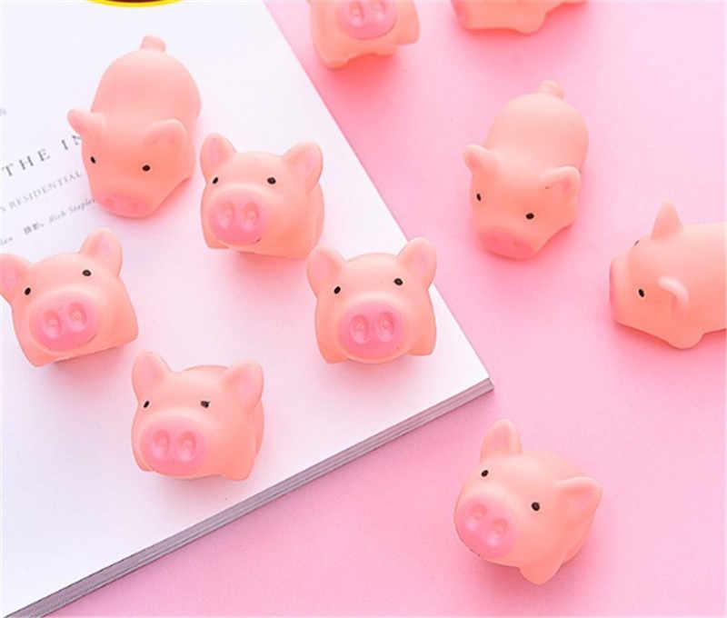 1PC Baru Lucu Anjing Mainan Berwarna Merah Muda Menjerit Karet Babi Hewan Peliharaan Mainan Mencicit Squeaker Chew Hadiah Dekorasi Rumah Gratis Pengiriman