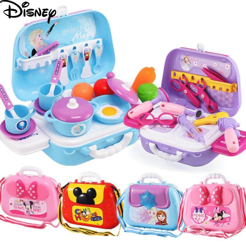 Mode Disney Minnie maquillage boîte à bijoux jouer maison poupée cuisine sac à dos valise reine des neiges cuisine jouet pour enfants cadeau d'anniversaire