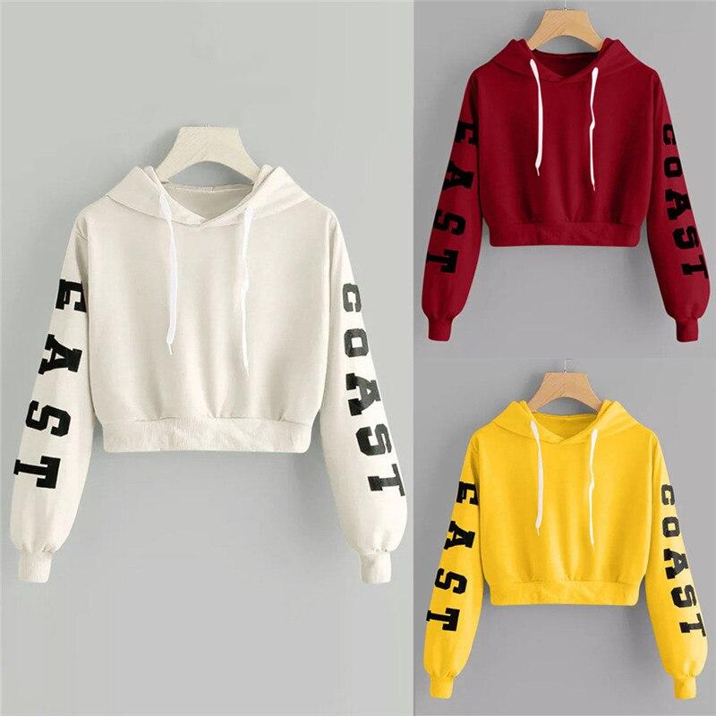 Womens Crop Tops Hoodies Autumn Causal Long Sleeve Sweatshirt Letters Hooded Short Pullover Sweatshirts sudaderas mujer JAYCOSIN