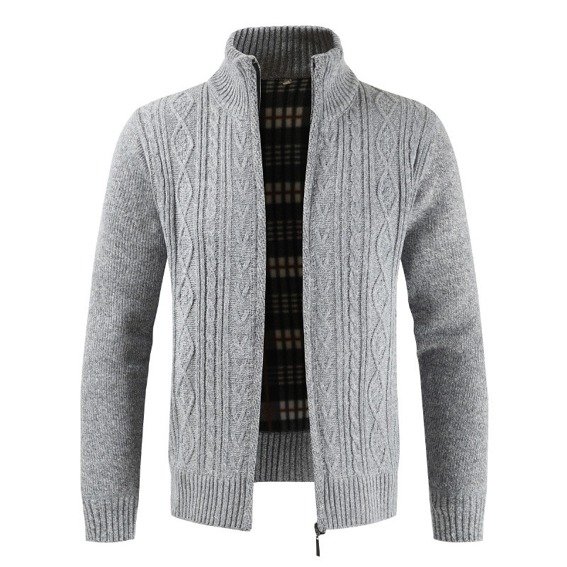 Mens Sweater New 2019 Spring Autumn Fashion Brand Casual Sweater Stand Collar Striped Slim Knit Men's Cardigan Colorful Sweater