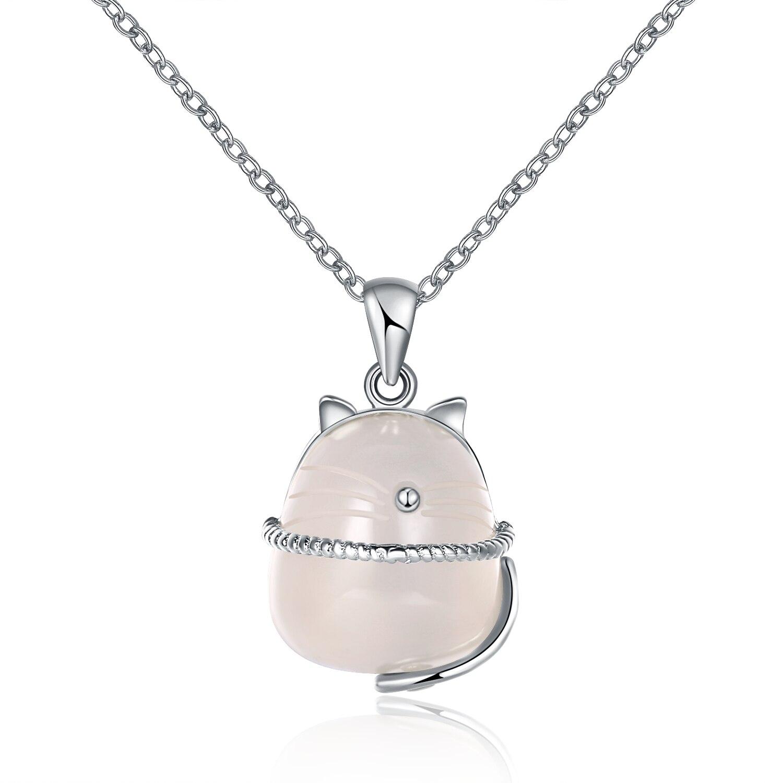 GOMAYA แมว Moonstone จี้สร้อยคอ 925 เงินสเตอร์ลิงใสคริสตัลหินธรรมชาติเครื่องประดับเด็ก Collares Mujer