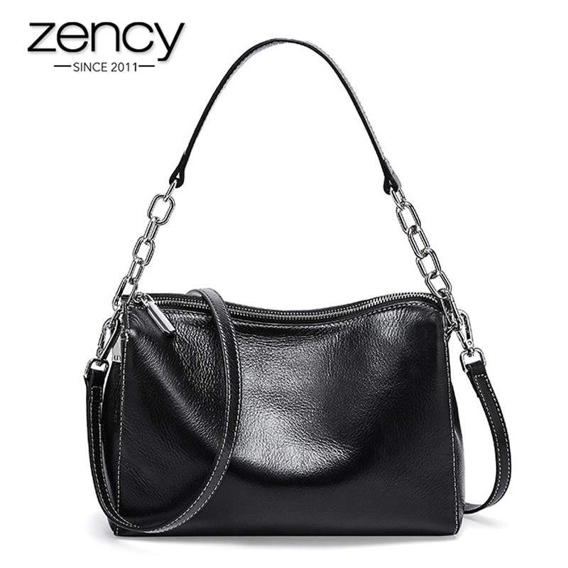 Zency Fashion Design Women Tote Bag 100% Genuine Leather Handbag Luxury Small Flap Lady Shoulder Messenger Bags Black White
