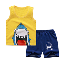 Summer Kids Clothing Sets Baby Boy Girl Clothes New Fashion Cotton Cartoon Shark T-shrits Shorts 2pc Baby Children Girls Outfits цена 2017