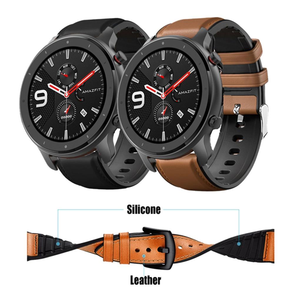Браслет из кожи и силикона для часов Amazfit GTR 47 мм, наручный ремешок для Xiaomi Amazfit Pace / Stratos 1 2 3 / GTR2 / GTR 2e