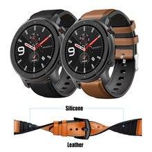 Leder + Silikon Armband Für Amazfit GTR 47mm Handgelenk Gurt Für Xiaomi Amazfit Tempo/Stratos 1 2 3 / GTR2 / GTR 2e Armband