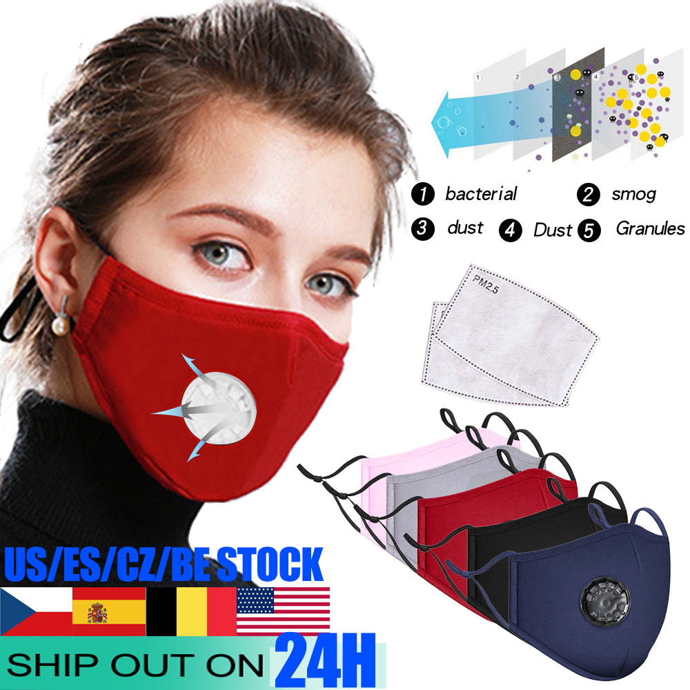 Cotton FFP PM2.5 Black Mouth Mask Anti Dust Mask Activated Carbon Filter Windproof Mouth-muffle Bacteria Proof Face Masks Care