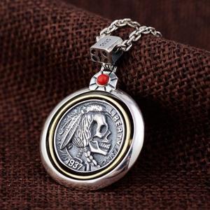 Image 5 - Pendentifs de crâne en argent Sterling 925 pour hommes, Vintage, Style Punk, tête indienne gravée, Onyx naturel, pierre rouge