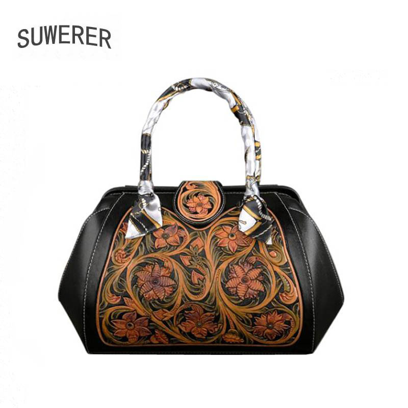 SUWERER 2020 New Genuine Leather bags fashion real cowhide bag Luxury handbags women famous brand leather bag Hand Carved Bag