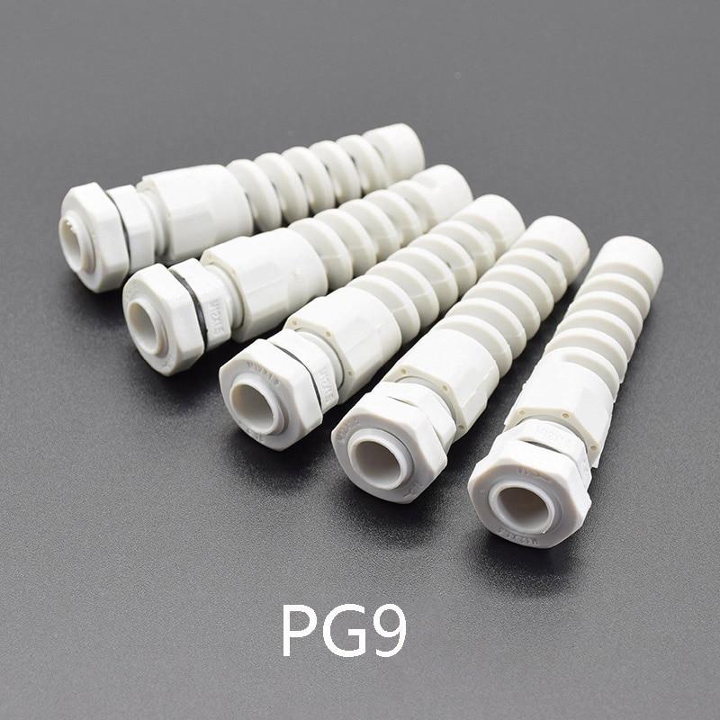 5 шт. IP68 Водонепроницаемый M12 PG7/PG9/PG11 кабельный сальник пластиковый гибкий спиральный предохранитель для 3,5-6 мм проволочная нить - Цвет: PG9