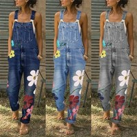 Denim Jumpsuit Sleeveless Overalls Women Floral Pant Long Trouser Frayed Jeans High Street Romper High Waist Jeans Jumpsuit
