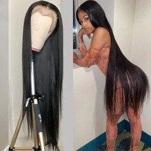 Perruque Bob Lace Frontal Wig brésilienne naturelle, cheveux vierges, lisses, 30 à 40 pouces, pour femmes africaines