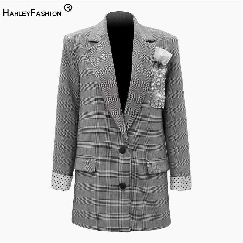 HarleyFashion printemps automne Design superbes femmes diamants Blazers points manches Plaid imprimé vestes pierres Blazers