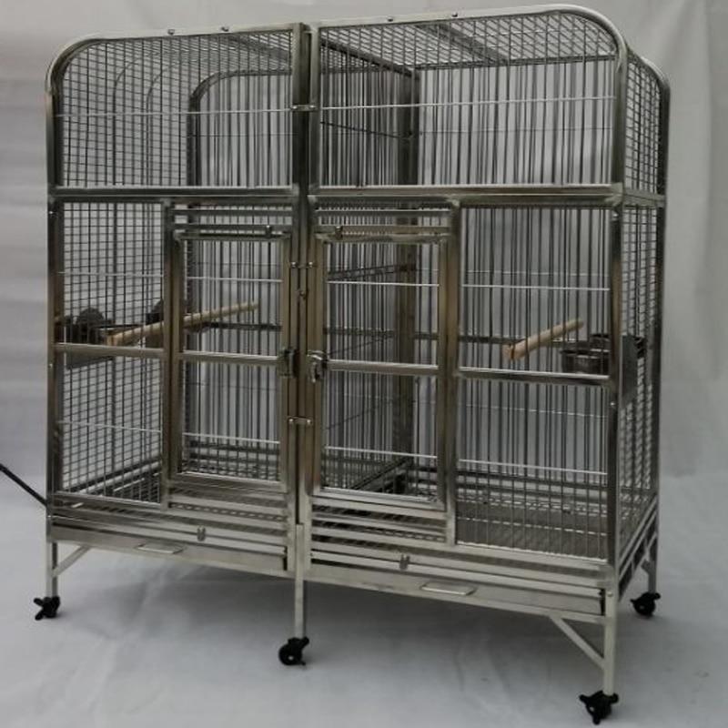 Gran tamaño SUS304 jaula de loro de acero inoxidable doble jaula de aves Amazonas 160cm X 80cm X 175cm 64 ''* 25'' * 70 ''ST69DA