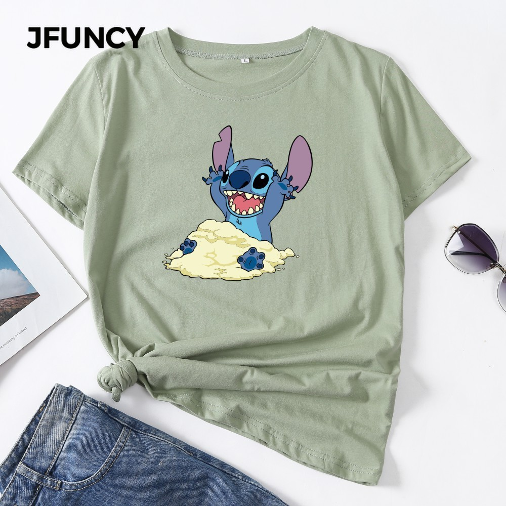 JFUNCY 2020 Cartoon Stitch Printing Women T-shirt Summer Short Sleeve Cotton Tshirt Korean Oversize Woman Tops Lady Basic Shirts