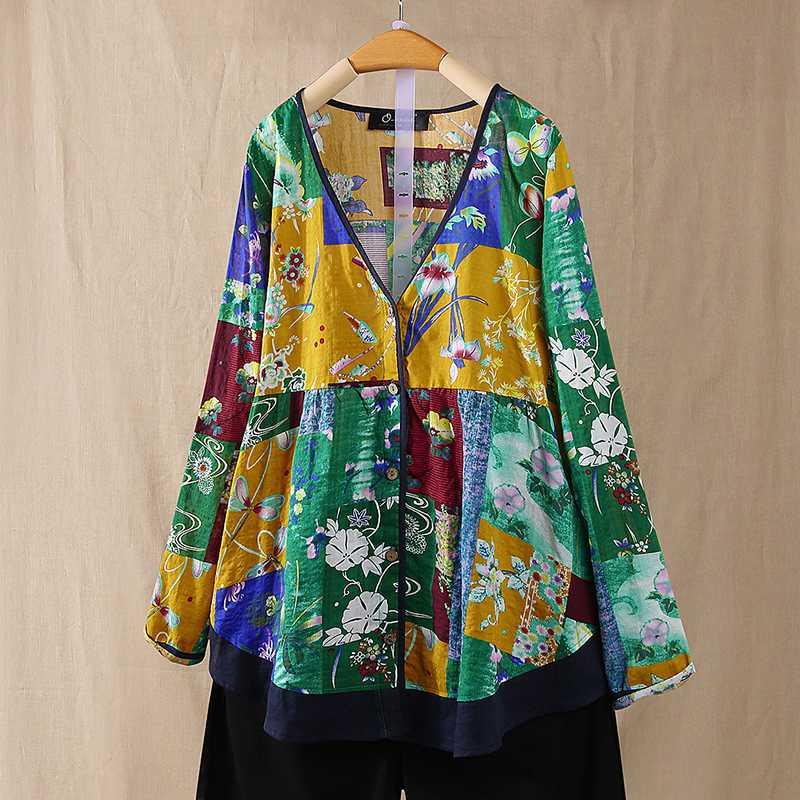 Bohemian Women Blouse ZANZEA Casual Floral Printed Shirts Spring V Neck Long Sleeve Tunic Tops Vintage Blusas Chemise Femininas