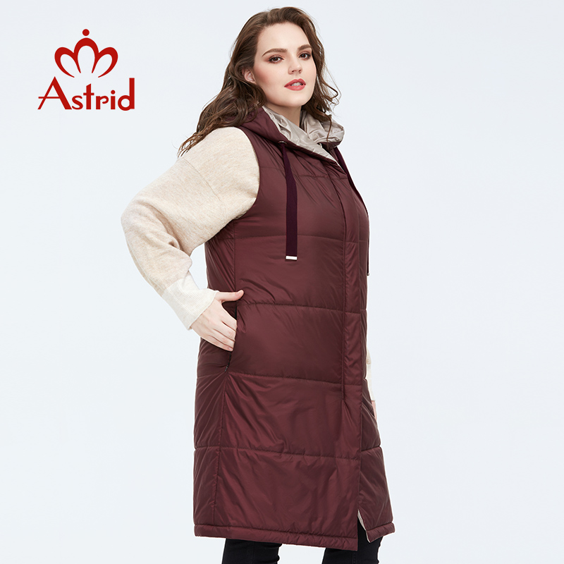 Astrid 2020 New Spring Autumn Women's Coat Sleeveless Double-sided  Clothing Warm Women Thin  Parka Cotton Vest  Female  AM-7504