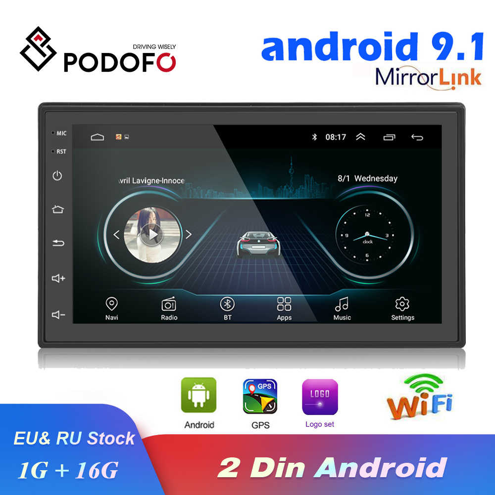 Podofo 2 DIN Mobil Radio Android GPS Multimedia Player Autoradio 7 Inci Layar Sentuh Bluetooth FM WIFI Auto Audio Stereo mirrorlink