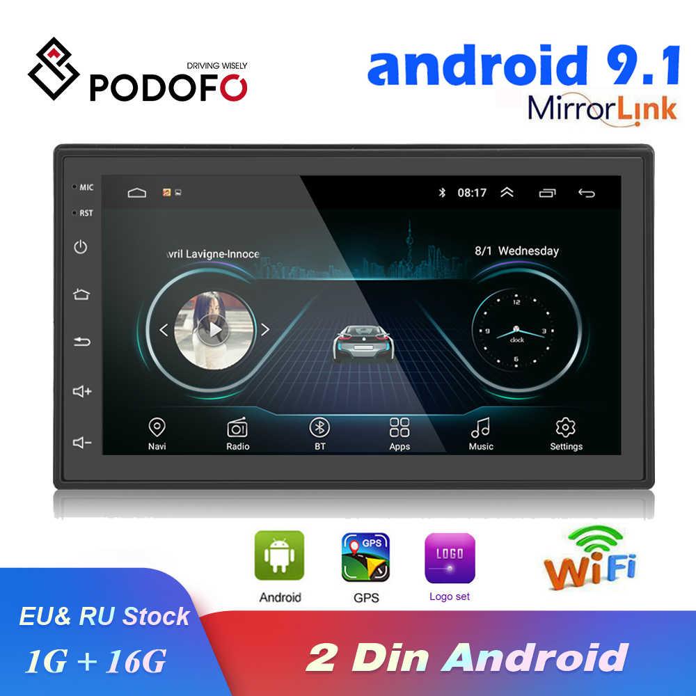 Podofo 2 Din Auto Radio Android Gps Multimedia Speler Autoradio 7 ''Touch Screen Bluetooth Fm Wifi Auto Audio Stereo mirrorlink