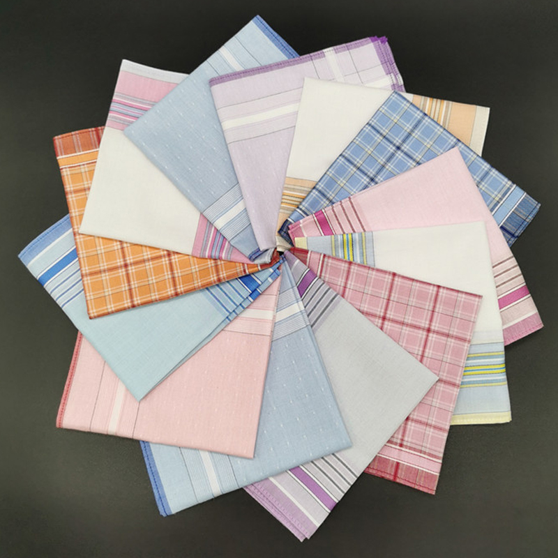 3Pcs/lot Square Plaid Stripe Handkerchiefs Women Men Classic Vintage Pocket Cotton Towel For Wedding Party 28*28cm Pocket Towel