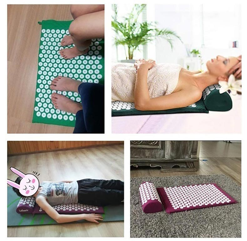 Non-Slip Acupressure Cushion Massage Mat Body Pain Spike Fitness Pilates Exercise Pillow Yoga Mat Gift Bag Applicator 16