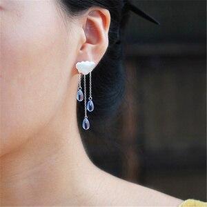 Image 3 - INATURE 925 스털링 실버 패션 구름 모양 블루 크리스탈 술 드롭 귀걸이 여성 쥬얼리에 대한