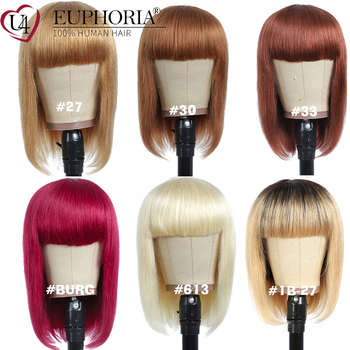 Straight Hair Bob Wigs With Bangs Burg 99J 27 Brown Blonde Color Full Machine Short Brazilian Remy Human EUPHORIA - discount item  45% OFF Human Wigs( For Black)