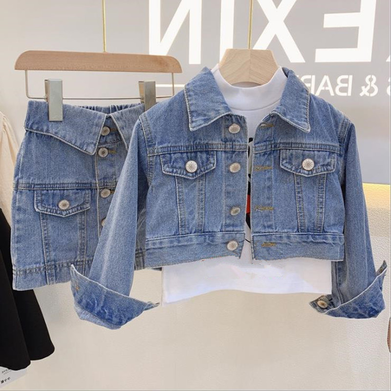 DFXD Spring Children's Sets Fashion 2pc Outfits Long Sleeve Denim Jacket Coat+Jeans Skirt Toddler Clothes 2-7Yrs Baby Suits New