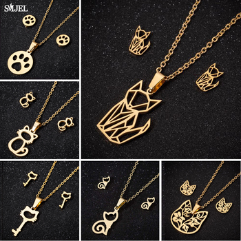 SMJEL Origami Cat Jewelry Sets for Women Gold Color Cute Animal Earings Fashion Footprint Charm Necklaces Collares