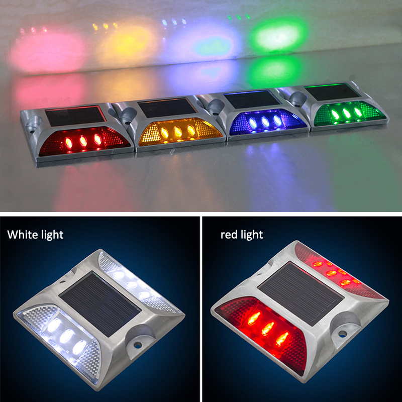 Solar Road Stud Small Square Double-sided 6LED Warning Induction Light Led Lights Lamp