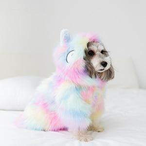 Image 1 - Cute Cat Dog Clothes Dog Jacket Shirt Pet Clothing Rainbow Fur Dog Coat Puppy Pet Clothes France Bulldog Yorkshire ropa perro